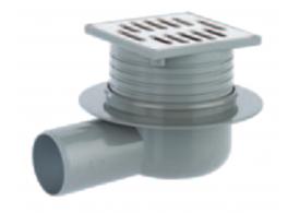 Render del sumidero RUG, fabricado en plástico ABS, de dimensiones L100 A100 H88/113, salida horizontal DN50, con sifón, con reja slot en acero inoxidable AISI304.