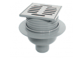 Render del sumidero RUG, fabricado en plástico ABS, de dimensiones L100 A100 H115/140, salida vertical DN50, con sifón, con reja slot en acero inoxidable AISI304.