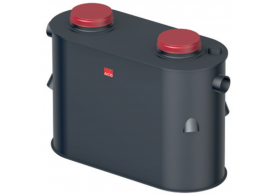 Render do separador de hidrocarbonetos aéreo COALISATOR-P NS6 em polietileno de alta densidade (HDPE).