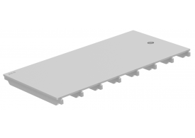 Render da grelha para canal BOX HF, grelha ranhurada em aço inoxidável AISI304 da dimensões L500 A268 H20/30 sem sistema de fixação, classe de carga M125.