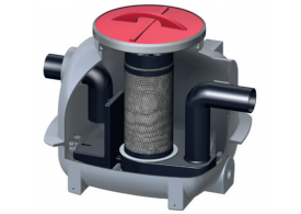 Render do separador de hidrocarbonetos aéreo COALISATOR-P NST em polietileno de alta densidade (HDPE).