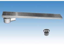 Render del conjunto de canal CLASSIC en acero inoxidable AISI304 con reja perforada cuadrada K3 y con cazoleta con salida horizontal DN/OD 50