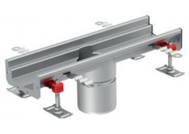 Render do canal Modular 125 L500 H63 de altura interior H50 em aço inoxidável AISI304 com saida central DN/OD 110