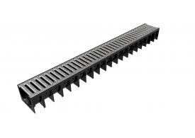 Render del canal MUFLE 4ALL H92 en polipropileno negro con reja pasarela de acero galvanizado clase de carga A15.