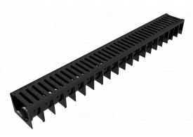 Render do canal MUFLE 4ALL H92 em polipropileno preto com grelha passarela em polietileno de alta densidade (HDPE) classe de carga A15.