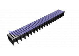 Render del canal MUFLE 4ALL H92 en polipropileno negro con reja pasarela de acero inoxidable AISI304 clase de carga A15.