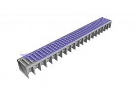 Render del canal MUFLE 4ALL H92 en polipropileno gris con reja pasarela de acero inoxidable clase de carga A15.