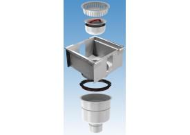 Render del sumidero completo para el canal RANURADO ESP H140 L300 A300 H398 de acero inoxidable AISI304, sin reja, salida vertical DN110, con sifón y cestillo.