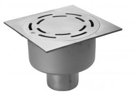 Render del sumidero industrial SELECT 300, fabricado en acero inoxidable AISI304, de dimensiones L300 A300 H198 fondo Ø257, salida vertical DN110, con sifón, con reja renurada con fijación para una carga 40kN.