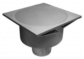 Render del sumidero industrial SELECT, fabricado en acero inoxidable AISI304, de dimensiones Ø250 H198 fondo Ø201, salida vertical DN110, con sifón, con reja estanca para una carga 30kN.