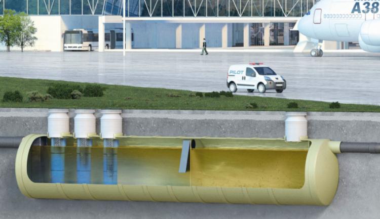 Instalação de um separador de hidrocarbonetos OLEOPATOR-G-H em um aeroporto