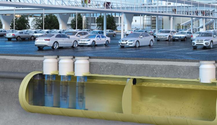 Instalação de um separador de hidrocarbonetos OLEOPATOR-G-H em um estacionamento