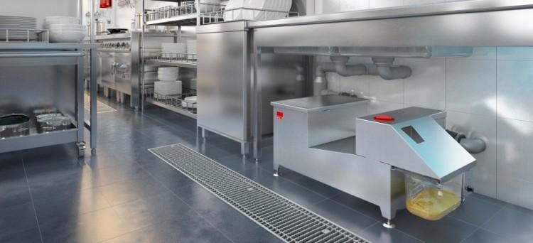 Separador de grasas AGC instalado en una cocina