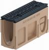 Render del canal registro MONOBLOCK RD100V 0.1 L500 H275 de hormigón polímero con reja pasarela de fundicón F900, sistema de fijación Drainlock, preformas laterales rompibles L-T-X y preforma vertical rompible