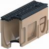 Render del canal registro MONOBLOCK RD100V 0.2 L500 H275 de hormigón polímero con reja pasarela de fundicón F900, sistema de fijación Drainlock, preformas laterales rompibles L-T-X y junta labiolaberíntica
