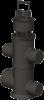 Render do sumidouro completo para o canal XTRADRAIN 100 L353 H512 em composite plástico, junta labiolaberíntica DN/OD 110/160, com cesto.