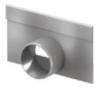 Render de la tapa inicio/final con manguito DN 50 para el canal MULTILINE V100 L32 A135 H80 en acero galvanizado.