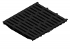 Render de la reja para canal MULTILINE 400, reja pasarela en fundición de dimensiones L500 A438 H31/50 con sistema de fijación Drainlock, clase de carga E600.
