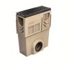 Render do sumidouro completo para o canal S 100 L500 H520 em betão polímerico, com grelha passarela em fundição F900, sistema de fixação Powerlock, pré-formas laterais quebráveis L-T-X e junta labiolaberíntica DN/OD 160, com cesto.