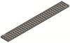 Render da grelha para canal Modular 125, grelha entramada lisa 25X25 20X2 em aço inoxidável AISI304 da dimensões L1000 A125 H20 sem sistema de fixação, classe de carga C250.