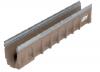 Render do canal MULTIDRAIN 100 0.0 L1000 H150 em betão polímerico sem grelha, sistema de fixação Drainlock e pré-marca rompivel vertical DN/OD 110