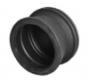 Render de la tapa final para el canal QMAX 350 L260 Ø415 en polietileno negro.