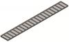 Render da grelha para canal Modular 125, grelha anti-salto em aço inoxidável AISI304 da dimensões L1000 A125 H20 sem sistema de fixação, classe de carga A15.