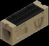 Render de la parte superior del sumidero para el canal MONOBLOCK RD150V 0.0 L660 H326 de hormigón polímero, reja pasarela de fundicón F900, sistema de fijación Powerlock, preformas laterales rompibles L-T-X.