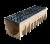 Render do canal MULTIDRAIN 300 L1000 H300 em betão polímerico com grelha passarela em fundição D400, sistema de fixação Drainlock e pré-marca rompivel vertical DN/OD 160