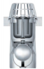 Render del sumidero para el tragaluz THERM, fabricado en polipropileno color blanco, de dimensiones Ø121 H266 con salida vertical DN110, sifón y válvula antirretorno.