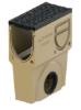 Render do sumidouro completo para o canal MONOBLOCK PD150V L500 H575 em betão polímerico com grelha passarela em fundição D400, sistema de fixação Drainlock e pré-formas laterais quebráveis L-T-X e junta labiolaberíntica DN/OD 160, com cesto.