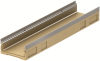 Render del canal MULTIDRAIN 200 BA L1000 H120 de hormigón polímero sin reja, sistema de fijación Drainlock y premarca rompible vertical DN/OD 160