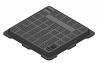 Render da tampa BASIC quadrada em fundição dúctil, de dimensões L500 A500 H35 classe de carga B125, sem inscripção superior.
