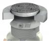 Render del la tapa ajustable para separador de hidrocarburos. Incluye 1 tapa de fundición Ø600 D400 con pintura bituminosa negra y realce de polipropileno de alta densidad (HDPE) gris de Ø836 H773 con losa de distribución.