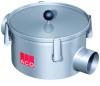 Render do filtro de linha com ligação DN100 e saida horizontal, realizado em aço inoxidável AISI316. De dimensões Ø323 H295 com cesto em aço inoxidável AISI316.