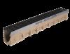 Render del canal MULTIDRAIN 100 0.0 L1000 H150 de hormigón polímero con reja pasarela de fundición C250, sistema de fijación Drainlock y premarca rompible vertical DN/OD 110