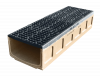 Render do canal MULTIDRAIN 300 L1000 H210 em betão polímerico com grelha passarela em fundição D400, sistema de fixação Drainlock e pré-marca rompivel vertical DN/OD 200