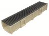 Render del conjunto de canal SELF 200 L1000 H150 en hormigon polímero con premarca para salida vertical DN/OD 160 y reja pasarela en fundición B125 con sistema de fijación por clavija