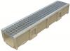 Render del conjunto de canal SELF 200 L1000 H150 en hormigon polímero con premarca para salida vertical DN/OD 160 y reja entramada 30x30 en acero galvanizado B125 con sistema de fijación por Springlock