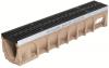 Render del canal MULTIDRAIN 150 0.0 L1000 H210 de hormigón polímero con reja pasarela de fundición, sistema de fijación Drainlock y premarca rompible vertical DN/OD 160