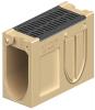 Render del canal registro MONOBLOCK RD150V de hormigón polímero con reja pasarela de fundicón F900, sistema de fijación Drainlock y preformas laterales rompibles L-T-X