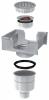 Render do sumidouro completo para o canal MODULAR 125 H125 L300 A300 H429 em aço inoxidável AISI304, sem grelha, saída vertical DN110, com sifão e cesto.