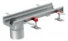 Render do canal Modular 125 L500 H63 de altura interior H50 em aço inoxidável AISI304 com saida na extremidade DN/OD 110