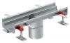 Render del canal Modular 125 L500 H63 de altura interior H50 en acero inoxidable AISI304 con salida central DN/OD 110