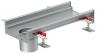 Render do canal Modular 200 L500 H81,5 de altura interior H60 em aço inoxidável AISI304 com saida na extremidade DN/OD 110