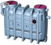 Render del separador de grasas aéreo LIPUJET-P-OB de polietileno de alta densidad (HDPE), ovalado.
