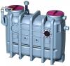 Render do separador de gorduras aéreo LIPUJET-P-OD em polietileno de alta densidade (HDPE), oval, extensão com tubo de sucção (D).