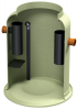 Render do separador de gorduras enterrado LIPUMAX-G-D em plástico com reforço de fibra de vidro (GRP), extensão com tubo de sucção (D).