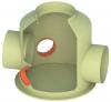 Render generla de la arqueta de recogida para bypass externo, conexión de entrada de bypass, salida y 2 entradas del separador.