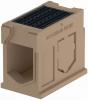 Render del canal registro MONOBLOCK RD300V 0.1 L750 H645 de hormigón polímero con reja pasarela de fundicón F900, sistema de fijación Drainlock, preformas laterales rompibles L-T-X y preforma vertical rompible
